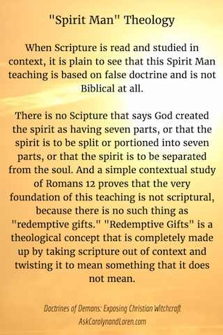Doctrines of Demons: Exposing Christian Witchcraft, Section Three, Chapter I: Spirit Man, Not Biblical