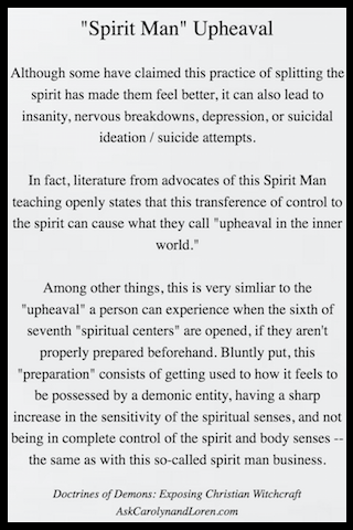 Doctrines of Demons: Exposing Christian Witchcraft, Section Three, Chapter I: Spirit Man, Upheaval and Subtractions